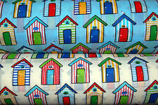 Polycotton Children's Beach Huts and Seagulls Seaside Sewing Blue Cream Fabric