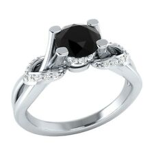 0.75 ct Natural Black Spinel & Diamond Solid Gold Wedding Engagement Ring