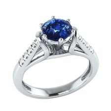 0.70 ct Natural Blue Sapphire & Diamond Solid Gold Wedding Engagement Ring