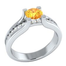0.95 ct Natural Citrine & Certified Diamond Solid Gold Engagement Wedding Ring