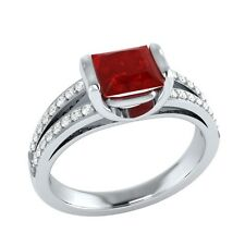 0.90ct Natural Ruby & Certified Diamond Solid Gold Wedding Engagement Ring