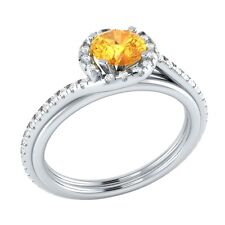 0.75 ct Natural Citrine & Diamond Solid Gold Wedding Engagement Ring