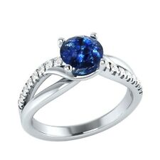 0.80 ct Authentic Sapphire & Authentic Diamond Solid Gold Engagement Ring