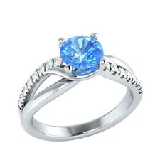 0.80 ct Natural Topaz & Certified Diamond Solid Gold Wedding Engagement Ring