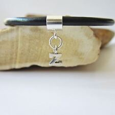 Initial 'Z' Sterling Silver European-Style Charm and Bracelet- Free Shipping