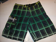 NEW Hurley black green  plaid boardshorts boys youth swim shorts swimsuit sz 18