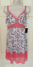 "DELTA BURKE ""Intimates"" Babydoll Chemise SEXY LACE Coral Print PLUS 1X 2X 3X"