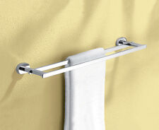Square Deluxe Bathroom Laundry DOUBLE towel rail Brass made Chrome finished