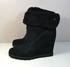 NWT UGG AUSTRALIA KYRA BLACK SUEDE WEDGE ANKLE BOOTIES BOOTS SHOES SZ 7