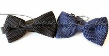 New Pre-Tied Adjustable 100% SILK Knitted Bow Tie Tuxedo Formal Navy & Black