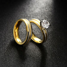 Women's Round 7mm Topaz 316L Stainless Steel 14k Gold Plated Wedding Ring Set