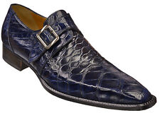 Mauri ITALY Navy Blue Alligator Skin Loafers Monk Strap Pointed Dress Shoes