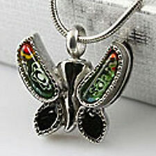 Butterfly Urn Cremation Pendant Necklace Keepsake Jewelry Ash Holder w/ Funnel