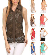 Allover Lace Point Collar Sleeveless Button Down Hi-Lo Hem Shirt Top  Sz S ~ L