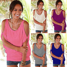 Plus Size Womens Sexy Cold Shoulder T-shirt Casual Short Sleeve Tops Tee Shirt