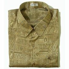 Mens Short Sleeve Shirt Luxury Gold Jacquard Weave Thai Silk Casual M-L-XL-XXXL