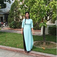AO DAI Vietnam CUSTOM MADE, Light Blue Dress, Black Pant, Short Sleeves, Chiffon
