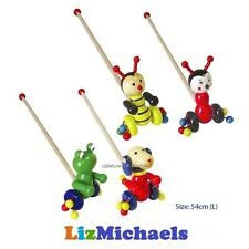 WOODEN ANIMAL STICK PUSH ALONG TOY  CHOICE of LADYBIRD FROG DOG BEE