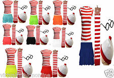 NEW LADIES GIRLS FANCY DRESS WHERE'S SKIRT WALLY T-SHIRT COMPLETE SET BOOK DAY