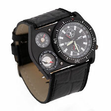 OULM Dual Time Zone Leather Movements Quartz Mens Wrist Watch Sport Army US Ship