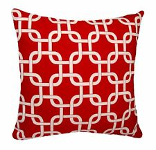 Red Pillows, Gotcha Red and White Decorative Outdoor Chain Link Throw Pillow