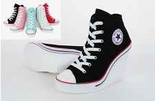 "Womens Elevator Shoes 3.9"" (10cm) up High Heel Canvas Sneaker Boots Zipper Korea"