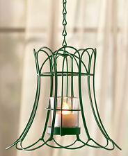 Distressed Lampshade Style Hanging LED Tea Light Holder - Green