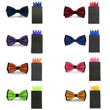 Men Double Color Satin Pre-tied Bowtie 4 Folds Pre-folded Hanky Handkerchief Set