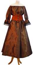 Victorian-Pirate-Les Mis, Brown Taffeta SKIRT BLOUSE LEATHER LACE UP BELT
