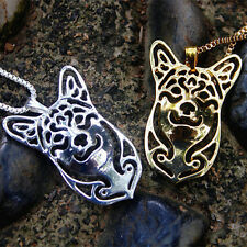 Corgi Intricate Necklace Dog Silver and gold Tone Metal filigree pendant
