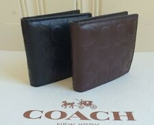 NWT COACH Signature Logo Embossed Leather Coin WalletF75005Black;Mahogany$175