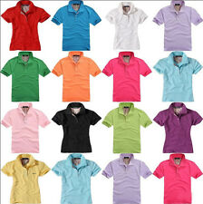 Stylish Unisex Casual Lapel POLO Shirt Short Sleeve Fit Solid Cotton Tee T-shirt