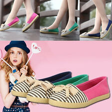 Women Lady Striped Bowknot Round Toe Flats Loafers Canvas Slip On Shoes Casual