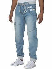 Mens Eto Regular Fit Cuffed Jogger Jeans Funky Stylish Designer Pants Bottoms