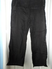 Marks & spencer Ladies black linen trousers with half elastic waistband size 18