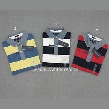 TOMMY HILFIGER  NEW MENS COTTON PIQUE STRIPED POLO RUGBY SHIRT,CUSTOM FIT, NWT,