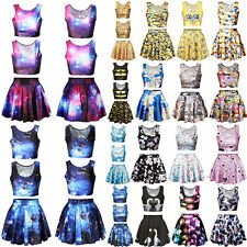 Sexy Women 3D Print Crop Tops + Short Skirt Skater Dress Party Cocktail 2Pcs Set