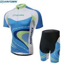New Cycling Bike Mens Team Bicycle Short Sleeve Jersey Bib Shorts Set Blue-White