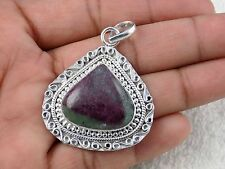 Natural Ruby Zoisite Cabochon 20x20mm Heart Gemstone 925 Sterling Silver Pendant