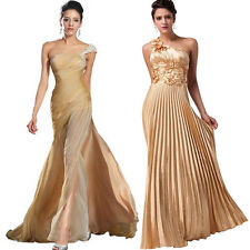 GOLD Long Prom Bridesmaid Evening Gown Cocktail Formal Party Ball 2 Styles Dress