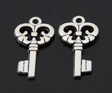 Wholesale 30/50pcs lovely Small key pendant Tibet silver Charm 17x11mm