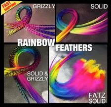 Feather Hair Extensions Grizzly Kit Tools Optional 5pc REAL Rainbow Feathers