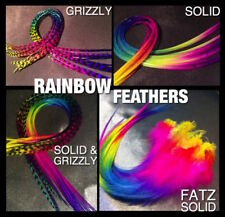 Feather Hair Extensions REAL Rainbow XL Feathers Grizzly 6 +1Free Pack CraftKit