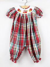 Dana Kids Christmas Holiday Plaid Santa Gifts Smocked Romper Baby Girls 6M-24M