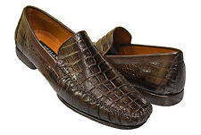 Mezlan Platinum Collection Crocodile Skin Chocolate Brown Moc Toe Dress Loafers