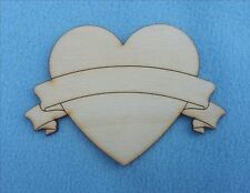 HEART TATTOO BANNER SCROLL Wood / White Sticker Card CRAFT SHAPES 3,5,8,12,15cm
