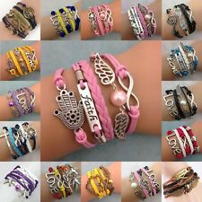 Cute NEW Fashion lots Style Leather Wrap Infinity Charm Jewelry Bracelet U pick