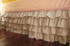 """Home Fashion Multi Ruffle Bed Skirt Taupe Solid Drop 8 To 30"""" Egyp Cotton"""