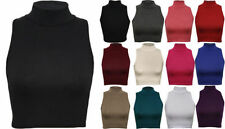 New Womens Ladies Sleeveless Plain Polo High Neck Turtle Crop Top Vest T-Shirt