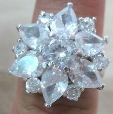 925 STERLING SILVER solid THICK round & PEAR cz FLOWER women's ring Size K M O Q